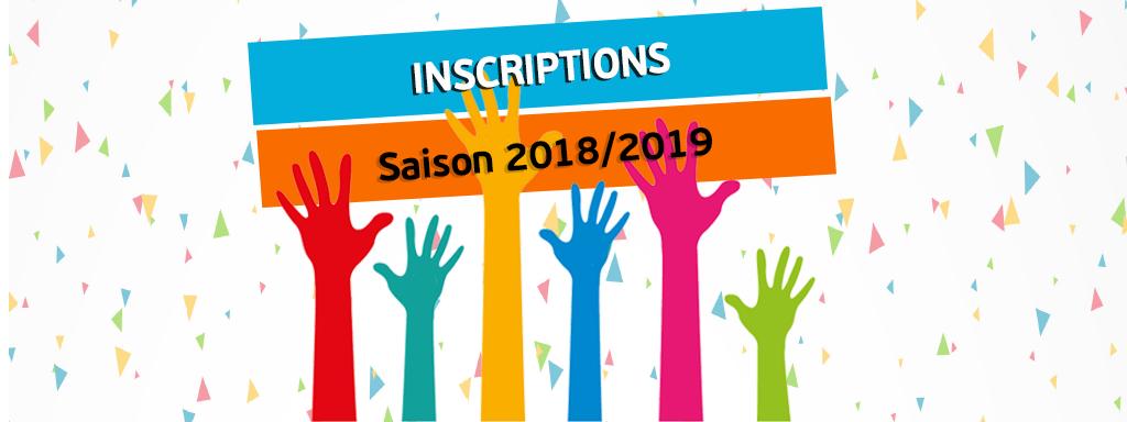 Inscriptions saison 2018/2019
